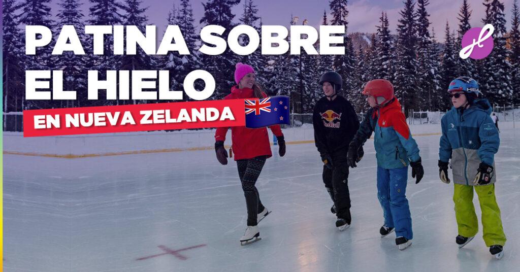 Patinaje sobre hielo en familia en Nueva Zelanda